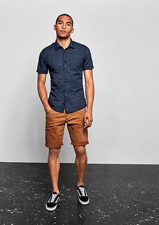 Extra slim: gemêleerd overhemd met korte mouwen