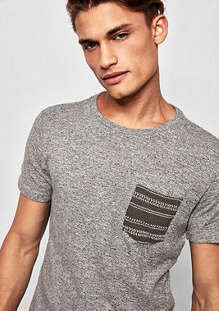Melange-Shirt mit Brusttasche