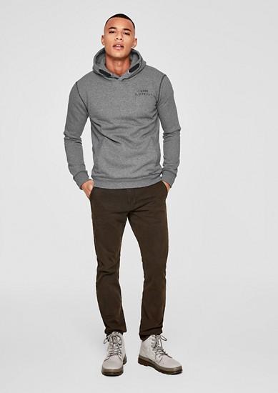 Melange-Sweater mit Kapuze
