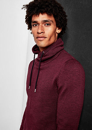Melange jumper with a shawl collar from s.Oliver