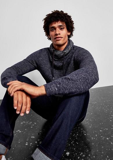 Melange-Pullover mit Schalkragen