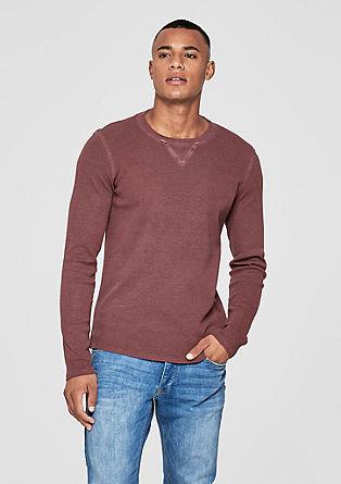 Garment-dyed shirt met structuur