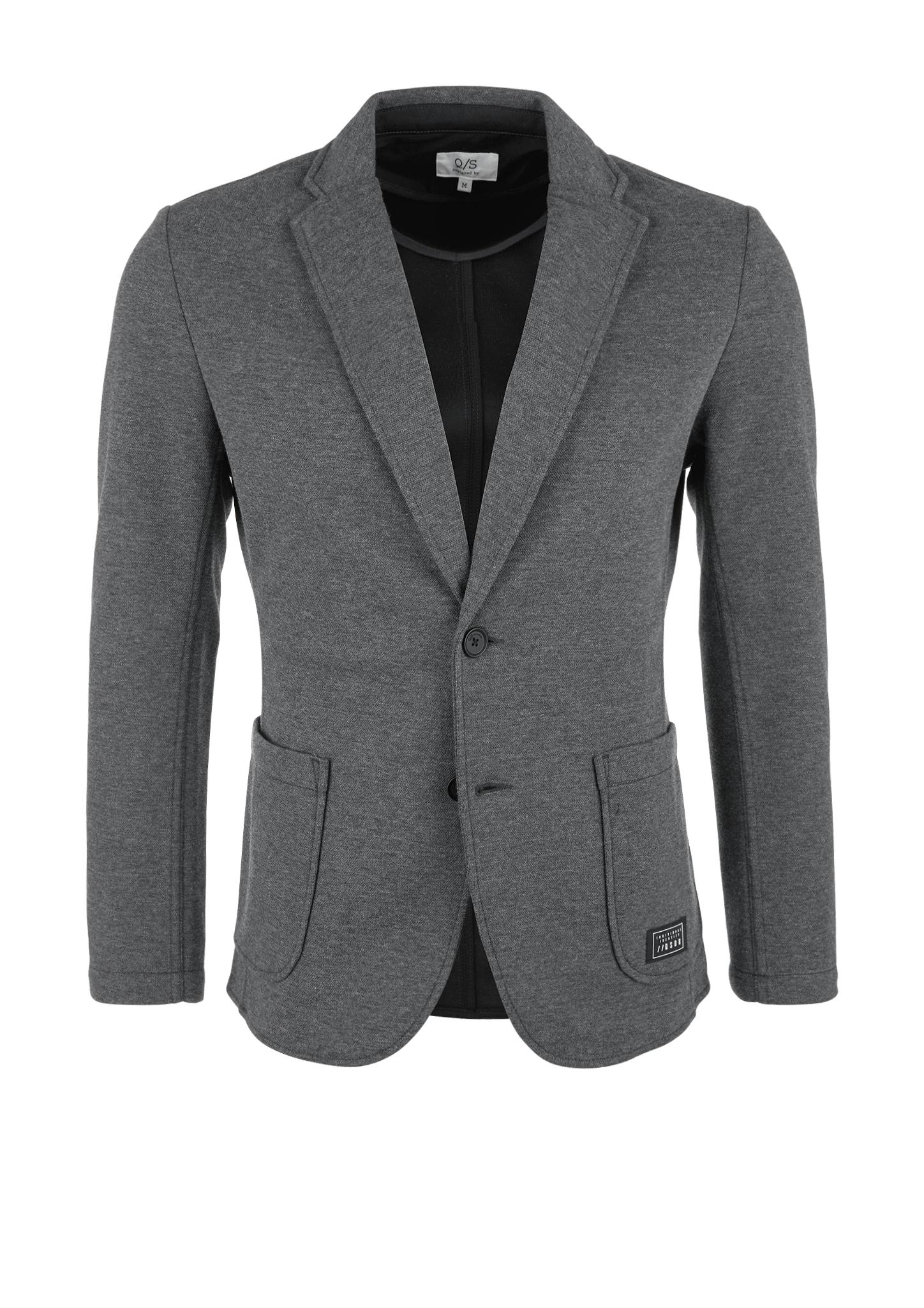 Sweat-Blazer | Bekleidung > Sakkos > Sonstige Sakkos | Grau/schwarz | Obermaterial 76% polyester -  24% baumwolle| futter 65% polyester -  35% baumwolle | Q/S designed by