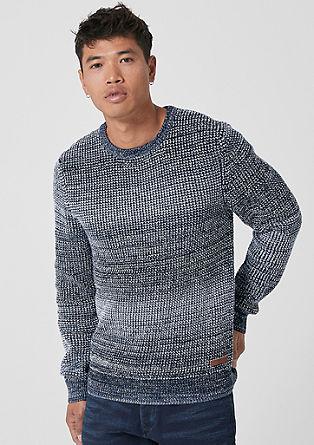 Melierter Strukturstrick-Pullover