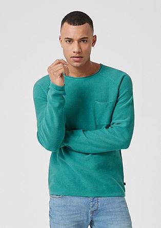 Pletený pulovr snáprsní kapsou