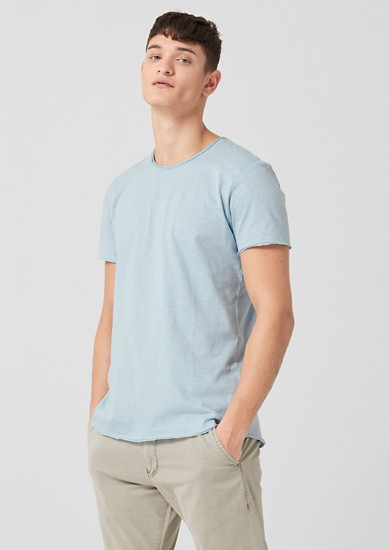 Slub T-shirt with rolled hem from s.Oliver
