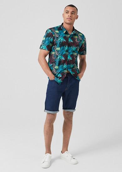 Extra Slim: Hemd mit Exotik-Print