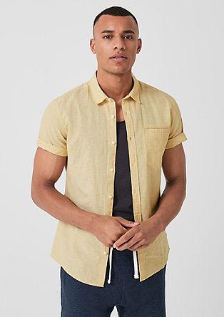 Extra Slim: košile s krátkým rukávem s podílem lnu