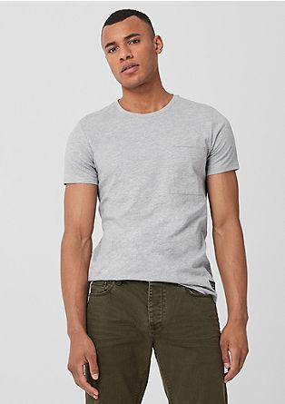 Melirana kratka majica s prsnim žepom