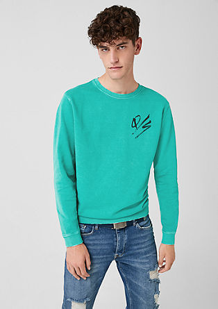 Sweatshirt met used look