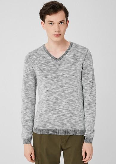 Melierter V-Neck-Pullover