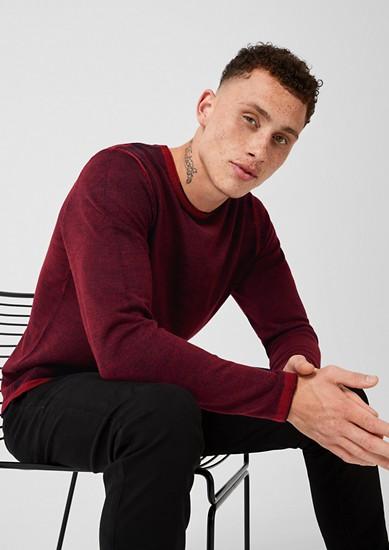 Fijngebreide trui met een garment-washed effect