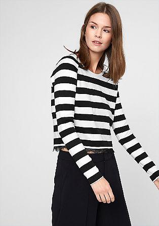 Cropped-Shirt mit Spitzensaum
