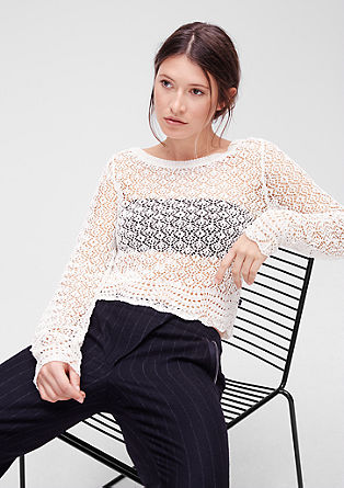 Crocheted cropped jumper from s.Oliver