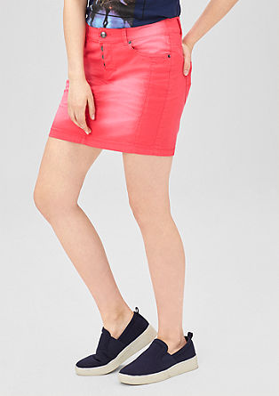 coloured denim rok met kleurverloop
