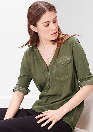Shirt blouse in mixed fabrics from s.Oliver