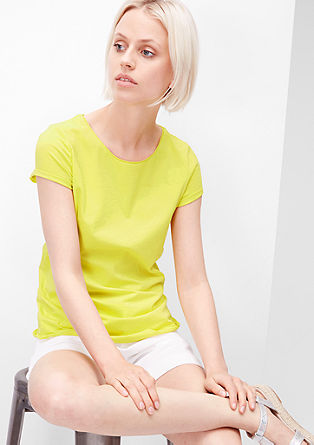 Jersey T-shirt with rolled hem edges from s.Oliver