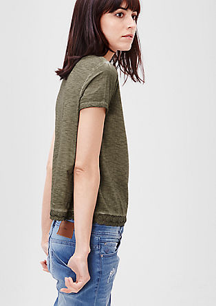 Cropped-Top mit Spitzensaum