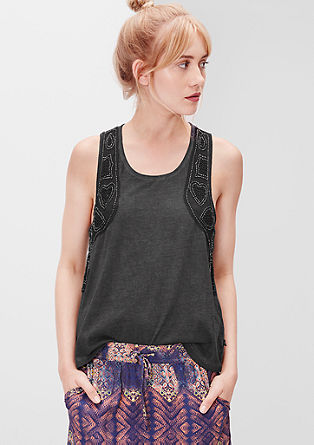 Tanktop mit Perlen-Patches