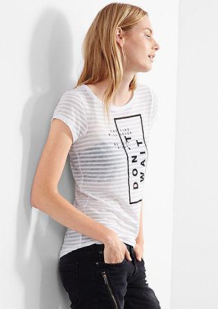 Črtasta majica s tiskanim napisom