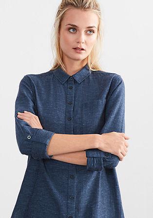 Melierte Herringbone-Hemdbluse