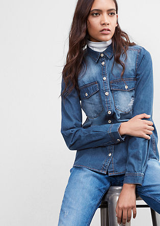 Jeansbluse im Used-Look