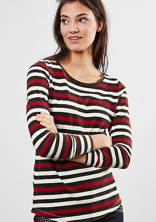 Striped top with a garment-washed effect from s.Oliver