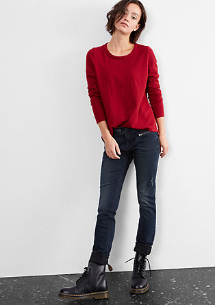 Slim: denim jeans with zips from s.Oliver
