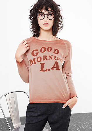 Garment-dyed top with lettering from s.Oliver