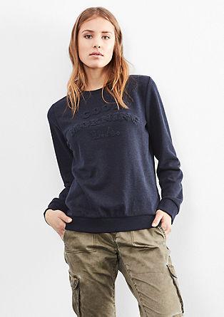 Sweatshirt met tekst van frotteerstof