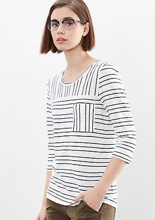 Top with 3/4-length sleeves and a striped pattern from s.Oliver