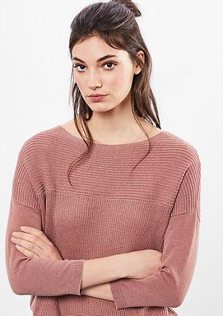 Pleten pulover iz žakarda s spranim učinkom