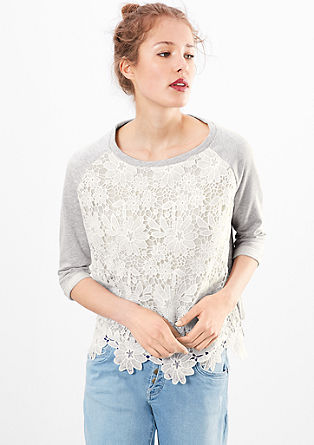 Sweatshirt with lace from s.Oliver