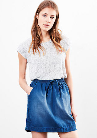 Garment-washed denim rok