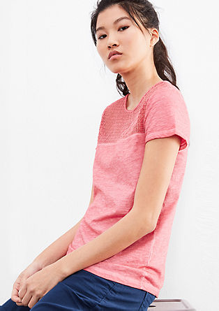 Garment-dyed top with lace from s.Oliver