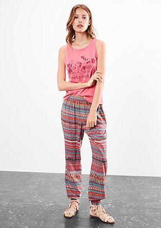 Vzorované látkové kalhoty