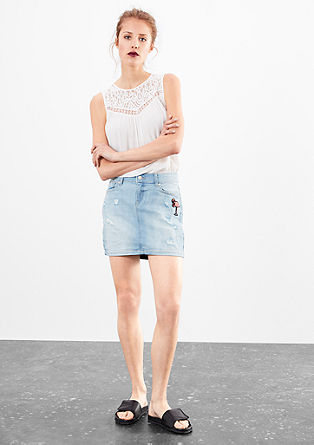 Denim skirt with a flamingo appliqué from s.Oliver