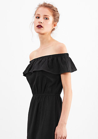 Off-shoulder jurk van slubgaren