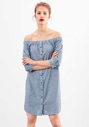 Off-shoulder jurk met pinstripes
