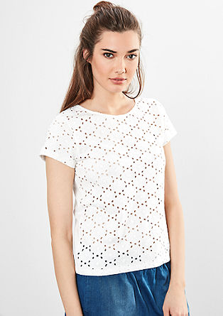 T-shirt with broderie anglaise from s.Oliver
