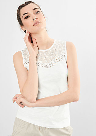 Jersey top with broderie anglaise from s.Oliver