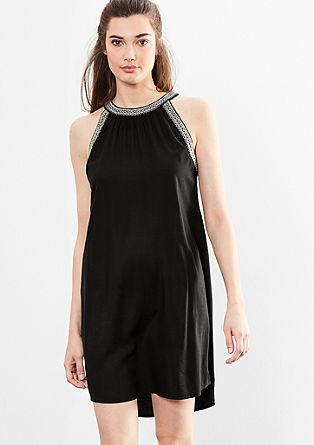 Schulterfreies Kleid mit Stitching