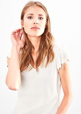 Bluza iz krepa z nagubanimi detajli