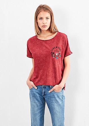 Besticktes Cropped-Shirt