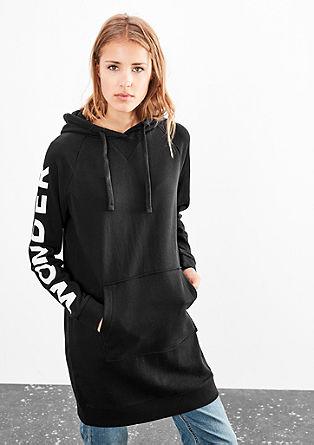 Obleka iz sweatshirt tkanine s kapuco