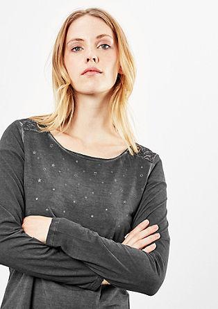 Pigment Dye-Shirt mit Spitze