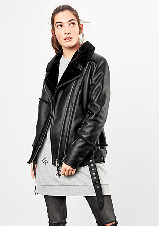 Faux leather jacket with fake fur from s.Oliver