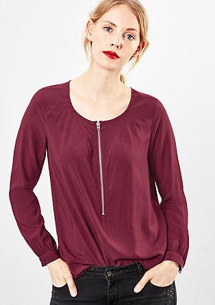 Viskose-Blusenshirt mit Zipper
