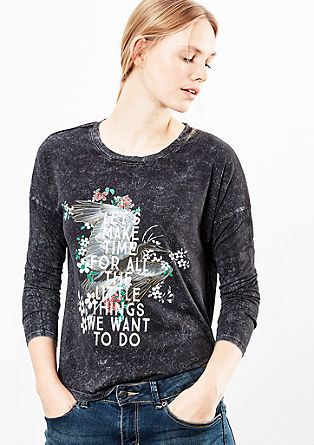 Acid Washed-Shirt mit Print