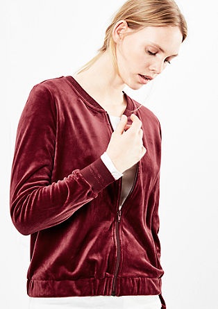 Velvety velour sweatshirt jacket from s.Oliver